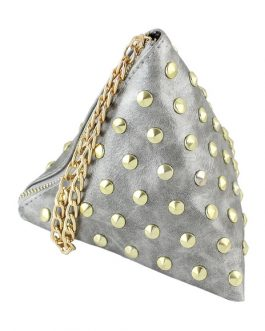 Women Mini Clutch Bag PU Leather Triangle Bag Fashion Rivet Chain Purse