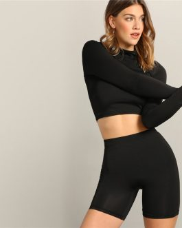 Women Mock-neck Crop Fitted Top And Leggings Shorts Set