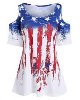 Women Plus Size American Flag Cold Shoulder T-shirt