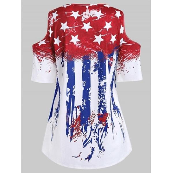 Women Plus Size American Flag Cold Shoulder T-shirt - Power ...