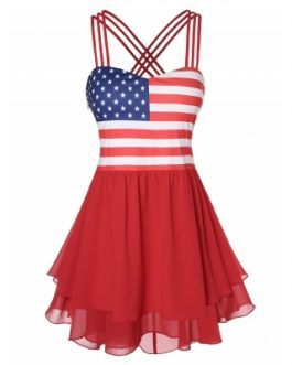 Women Plus Size American Flag Spaghetti Strap Tank Top