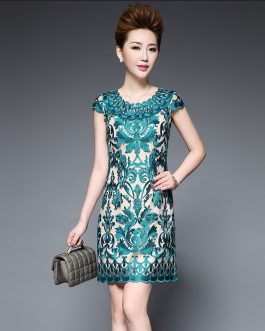 Women Plus Size Embroidery Pencil Bodycon Dress