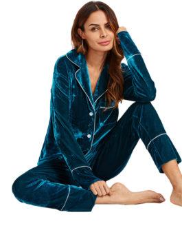 Women Pocket Top and Pants Pajama Set Casual Sleepwear