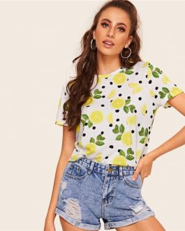 Women Polka-dot Fruit And Vegetable Print Top Tees