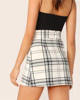 Women Preppy High Waist Stretchy Mini Skirt