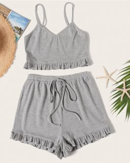 Women Rib-Knit Ruffle Cami Top And Knot Shorts Set