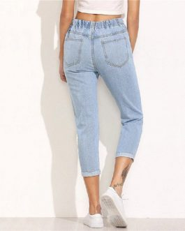 Women Ripped Mid Waist Drawstring Skinny Denim Calf Length Jeans