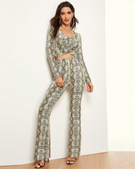 Women Ruched Front Snakeskin Print Top And Flared Pants Set