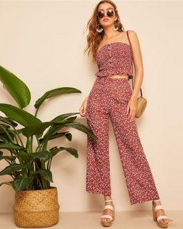 Women Rust Single Breasted Shirred Tube Ditsy Floral Top And Pants Set