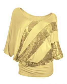 Women Sequin Top Three Quarter Sleeve T Shirt