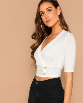Women Sexy Double Breasted Ribbed Crop Top High Street Tshirt Tops