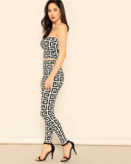 Women Sexy Greek Fret Print Strapless Crop Top and Leggings Sets