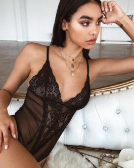 Women Sexy Skinny Spaghetti Strap lace bodysuit