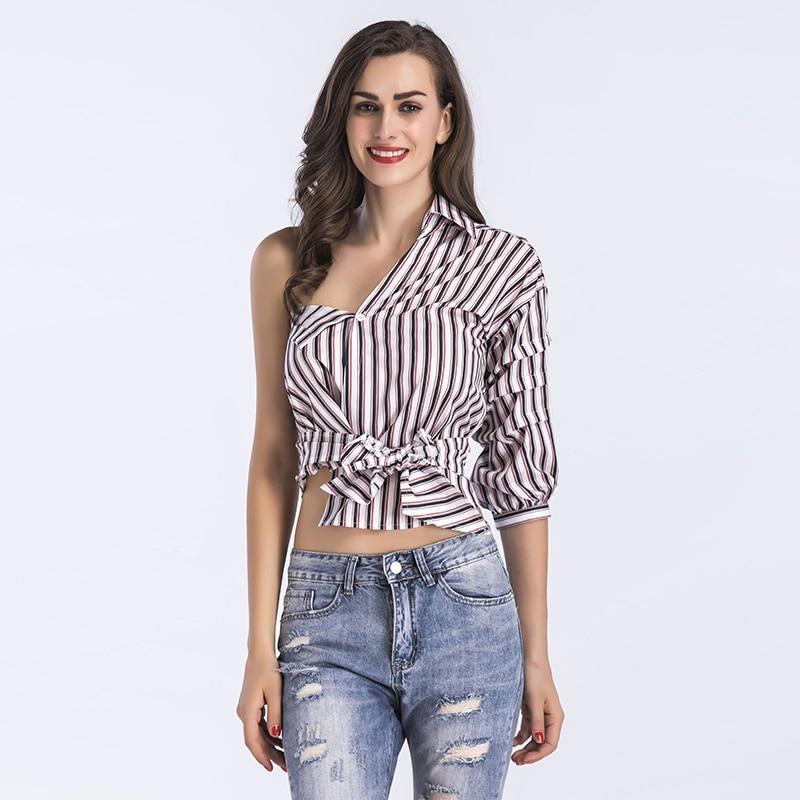 reputable site 4a702 a08e8 Women Sexy Stripe Cotton Casual Shirts Streetwear Hip Hop Blouse