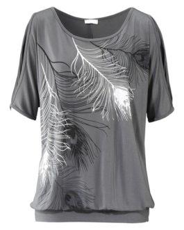 Women Short Sleeve Jewel Neckline Open Shoulder Printed Cotton T Shirt
