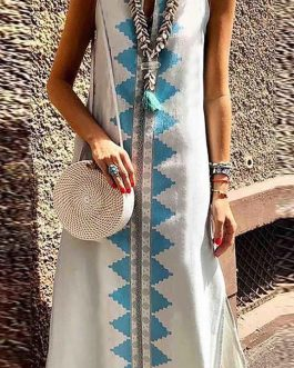 Women Sleeveless Floral Print Bohemian Split Long Maxi Dress