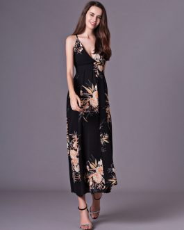 Women Sleeveless Floral Print Split Backless Long Dress