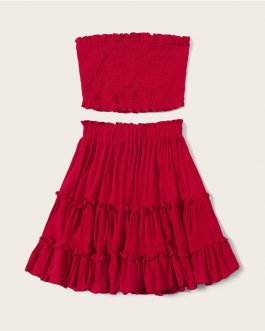 Women Smocked Bandeau Top And Layered Frill Hem Skirt Set