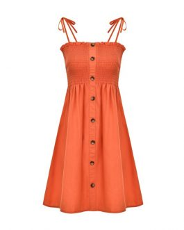 Women Solid Color Single-breasted Stretch Spaghetti Strap Dress