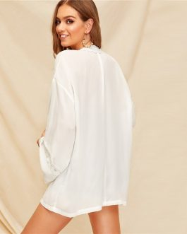 Women Solid Vacation Casual Flare Sleeve Long Kimono