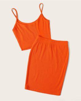 Women Spaghetti Strap Rib-Knit Crop Cami Top And Skinny Skirt Set