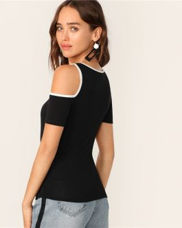 Women Sporty Binding Cutout Asymmetrical Neck Tshirt