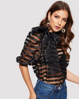 Tie Neck Puff Sleeve Striped Sheer Top Without Bra Mesh Blouse