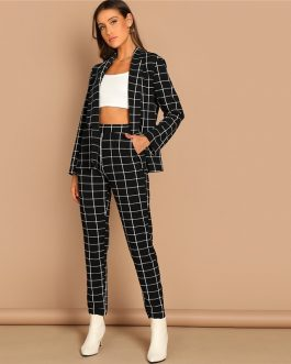 Women Stretchy Grid Print Shawl Collar Plaid Long Sleeve Blazer Pants Set