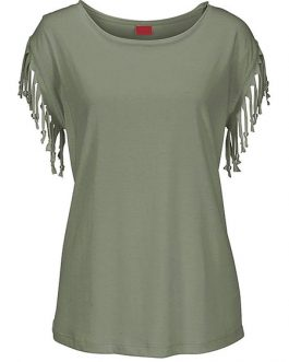 Women Summer T Shirt Round Neck Fringe Apricot Casual Top