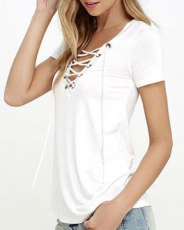 Women T Shirt Lace Up Short Sleeve V Neck Summer Casual Top