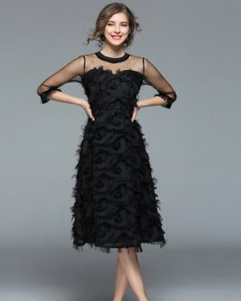 Women Tassel Mesh Patchwork feather Dress Sexy  Party Club Dress