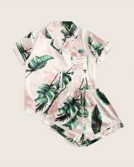 Women Tropical Print Pajama Set Casual Sleep Wear