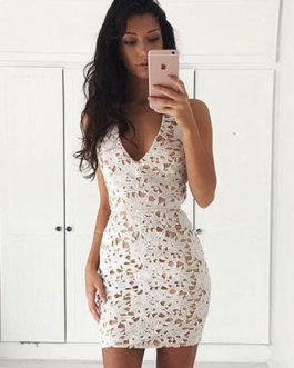 Women V Neck Backless Bodycon Dresses