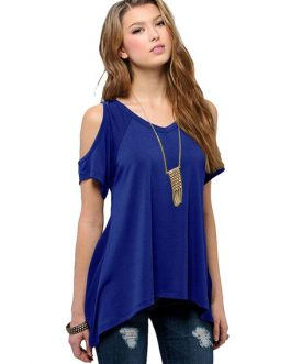 Women V Neck Cold Shoulder Swing Top