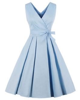 Women V Neck Sleeveless Pleated Bows Vintage Dress