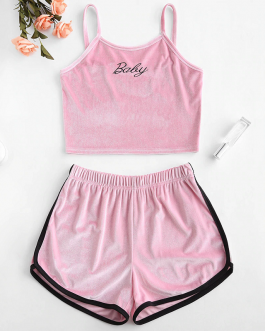 Women Velvet Embroidered Top And Shorts Set sports wear