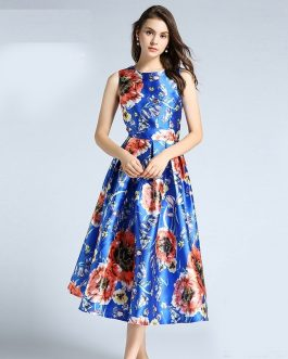 Women Vestido Sleeveless Sexy Print Party Dress