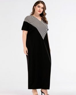 Women Vestidos Floor-Length Casual Cotton Plus Size Maxi Dress