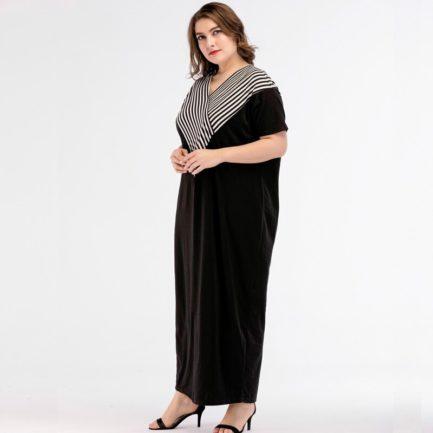 Women Vestidos Floor-Length Casual Cotton Plus Size Maxi Dress