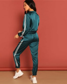 Women Zip Up Striped Tape Jacket And Drawstring Pants Satin Tracksuit