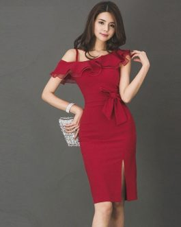 Women short One-Shoulder sexy  Vestidos Knee-Length Pencil dress