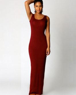 Women's Jewel Neck Sleeveless Long Dress