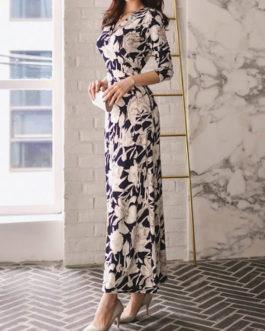 Women's Maxi Long Dress V Neck Floral Print Split Dress