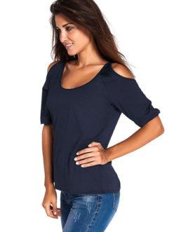 Women's Open Shoulder Short Sleeve U-neck Chic Top