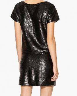 Women's Sequin Short Sleeve Glitter T Shirt