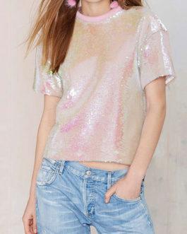 Women's Short Sleeve Sequins T Shirt