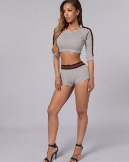 Women's Two Piece Outfit Half-Sleeve Slim Fit Crop Top With Shorts