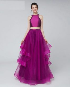 2 Pieces Crop Top Evening Dress with Tulle Ruffles Skirt