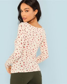 Apricot Floral Print Square Neck Tee Elegant Long Sleeve Slim Fit Tops