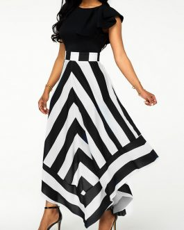 Asymmetric Hem Back Zipper Chevron Print Maxi Dress